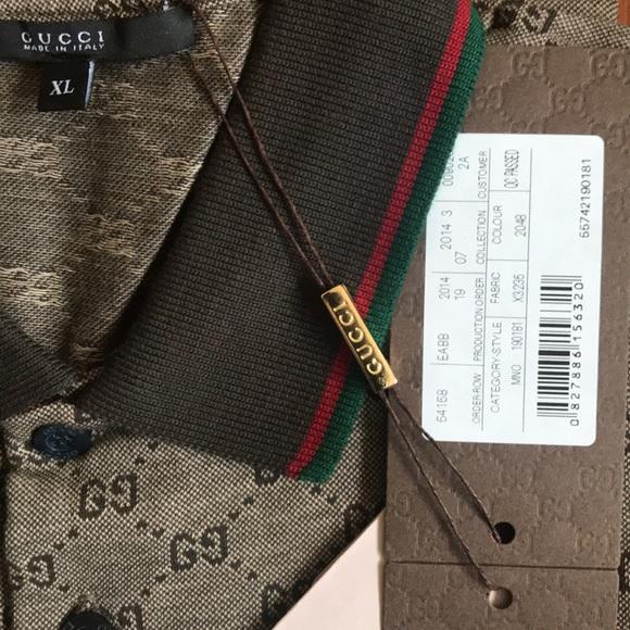 ffc9d8300 💯Gucci Men s Polo Shirt  GG Print Brown   XL NWT